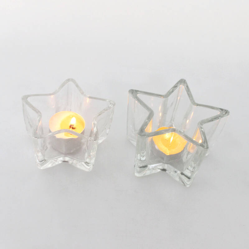Christmas decorative glass star shape tealight candle holder for table centerpieces