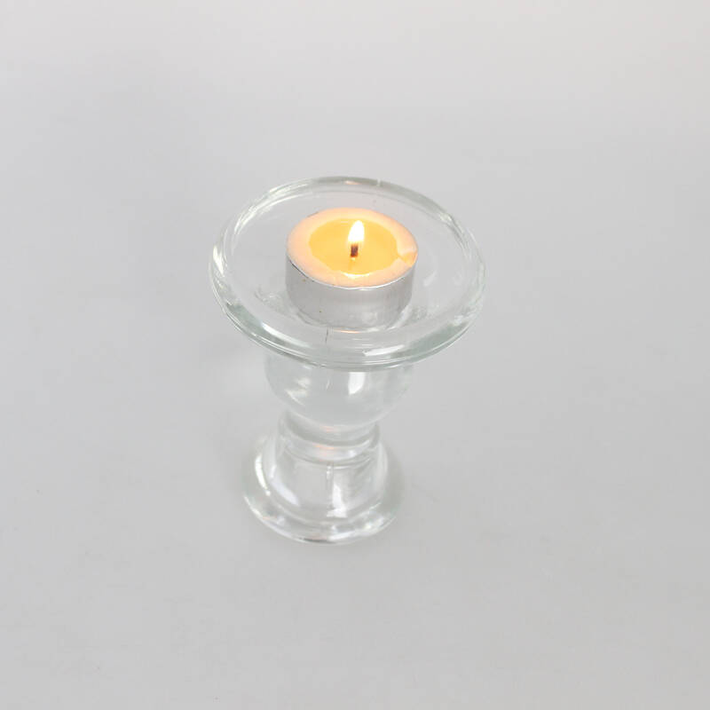 exquisite design clear crystal tall long stem glass tealight candle holders for home decoration