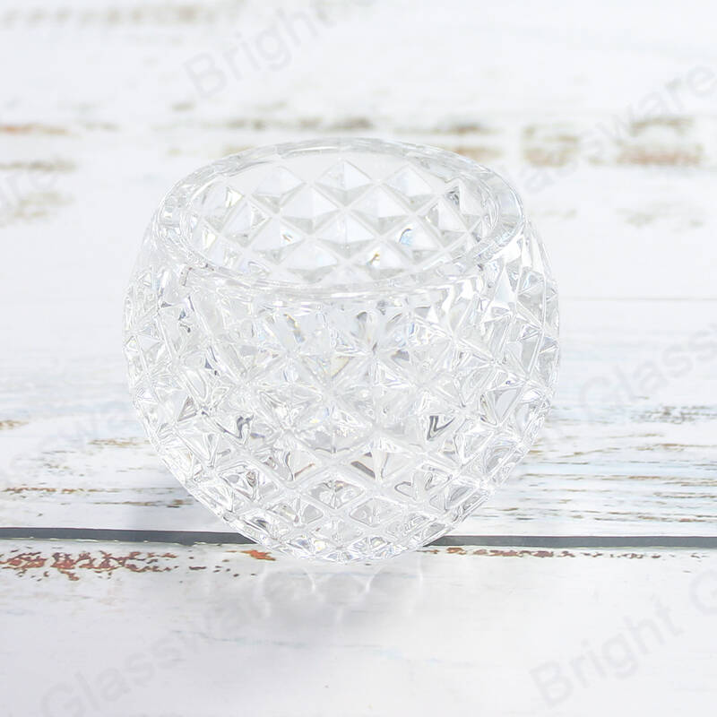 Clear Round Rock Cut Glass Tealight Votive Crystal Candle Holder for Wedding & Home Decor