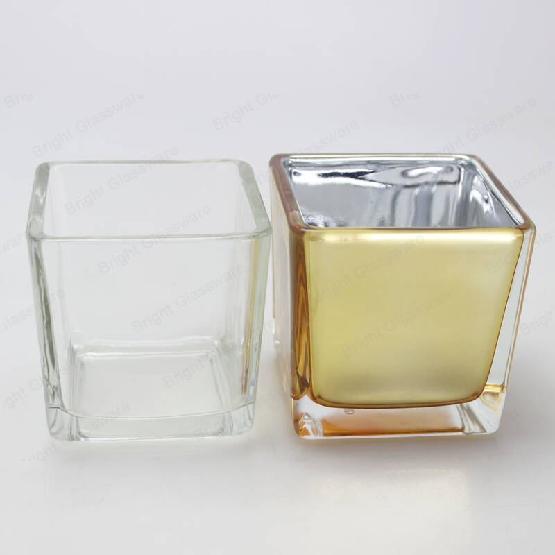 Electroplated Gold Glass Votive Candle Jars Square Cube Glass Container