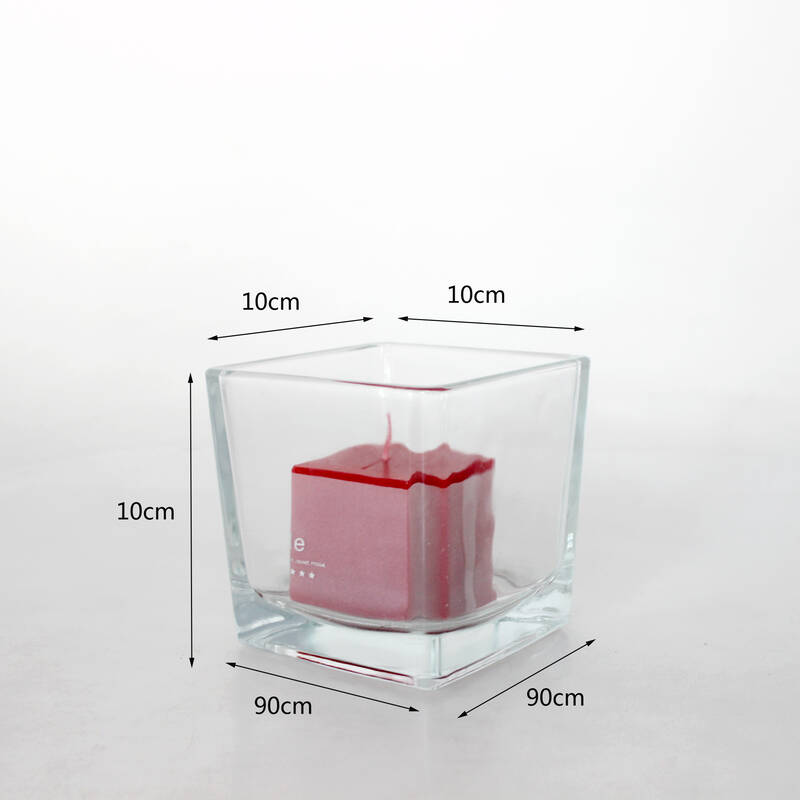 Factory Wholesale 560 ml Candle Container Transparent Square Glass Candle Jars For Home Decor
