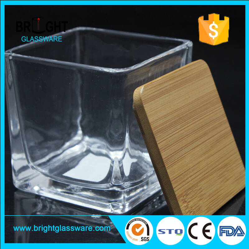 high quality glass candle jar with bamboo lid clear square candle jar with lid