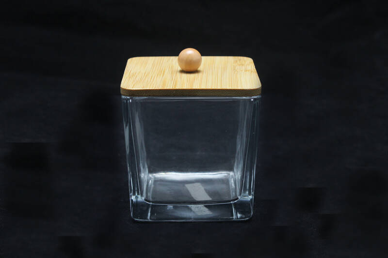 empty clear square glass candle jar with lid for home soy wax