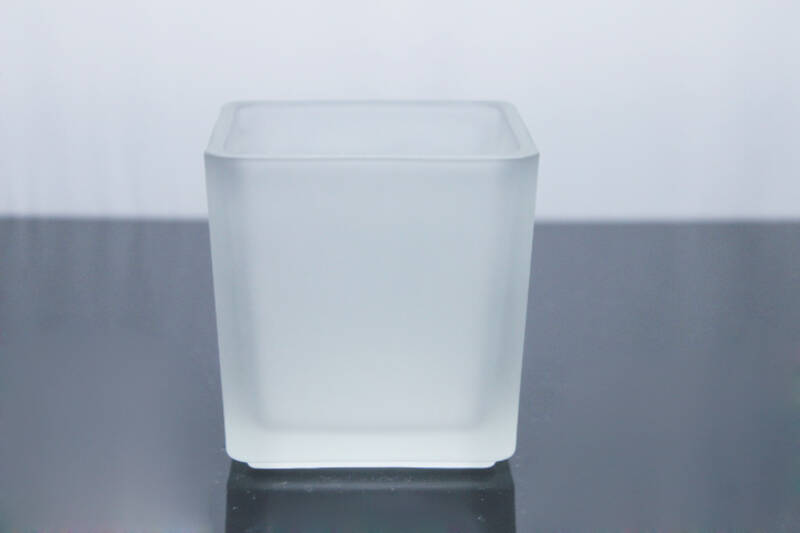 elegant frosted square glass candle jar for candle making