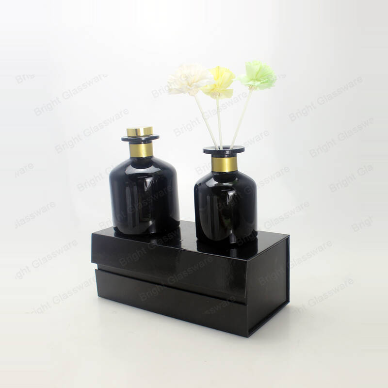 100ml 200ml black white shiny glass reed diffuser bottle home perfume with sticks and stopper