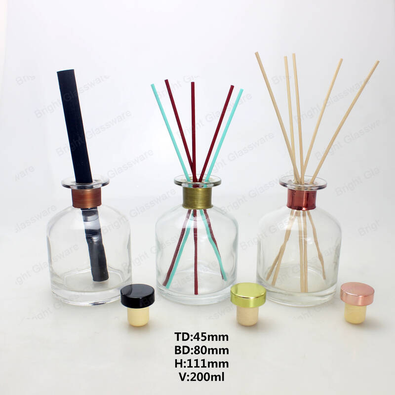 round clear aromatherapy glass reed diffuser bottles 200ml with rattan stick and stopper for home aroma oil