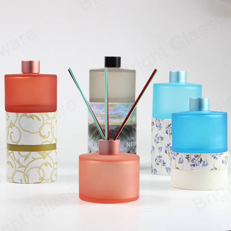 wholesale fancy empty 200ml new design colorful frosted diffuser bottle with cap and gift box