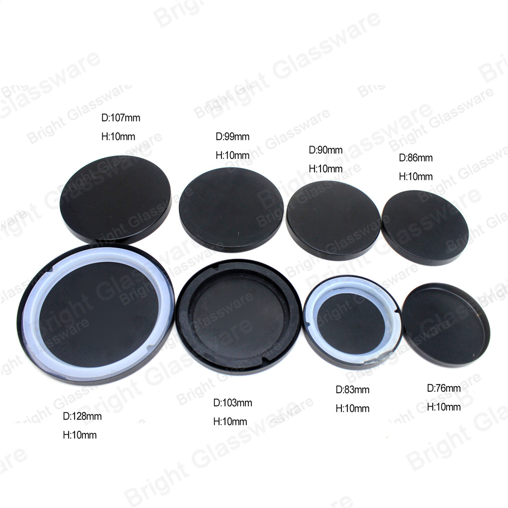 China manufacturer 78mm iron metal lid for candle jar matte black metal candle lids with silicone ring