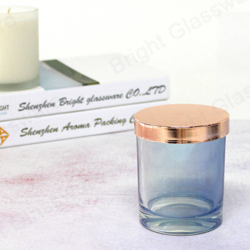 Decorative glass candle jar custom brand logo flat 85mm metal candle lid rose gold