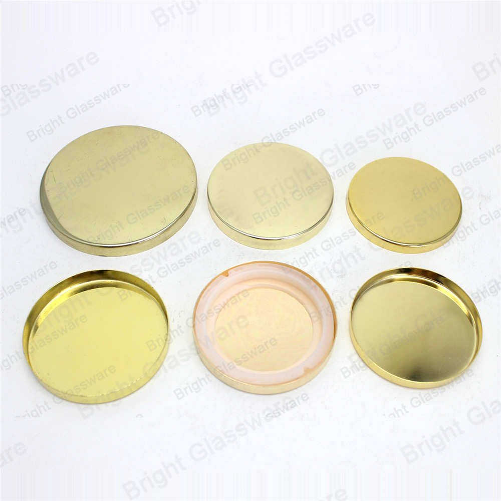 wholesale clear glass candle jars with gold lids for home decor