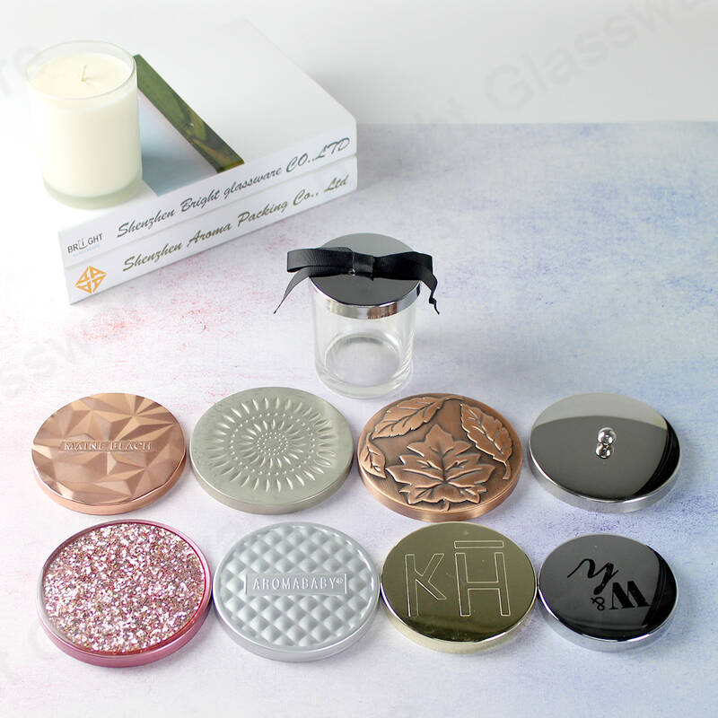 custom logo silver plating engraved/embossed candle lids for glass candle jar