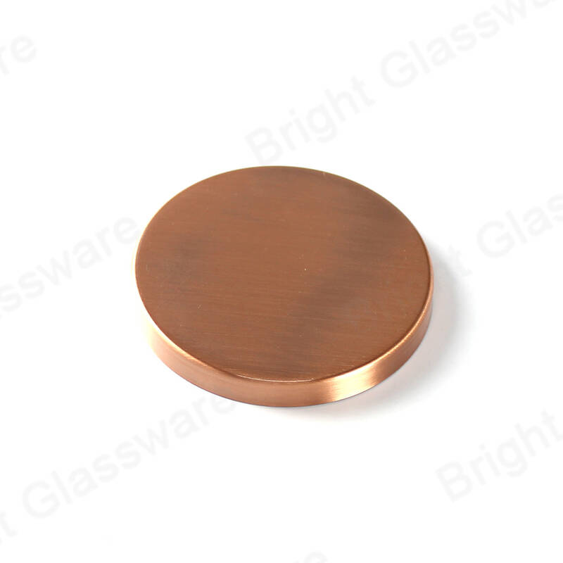 90mm 89mm metal lids for glass candle jars plating brushed antique rose gold copper candle lid