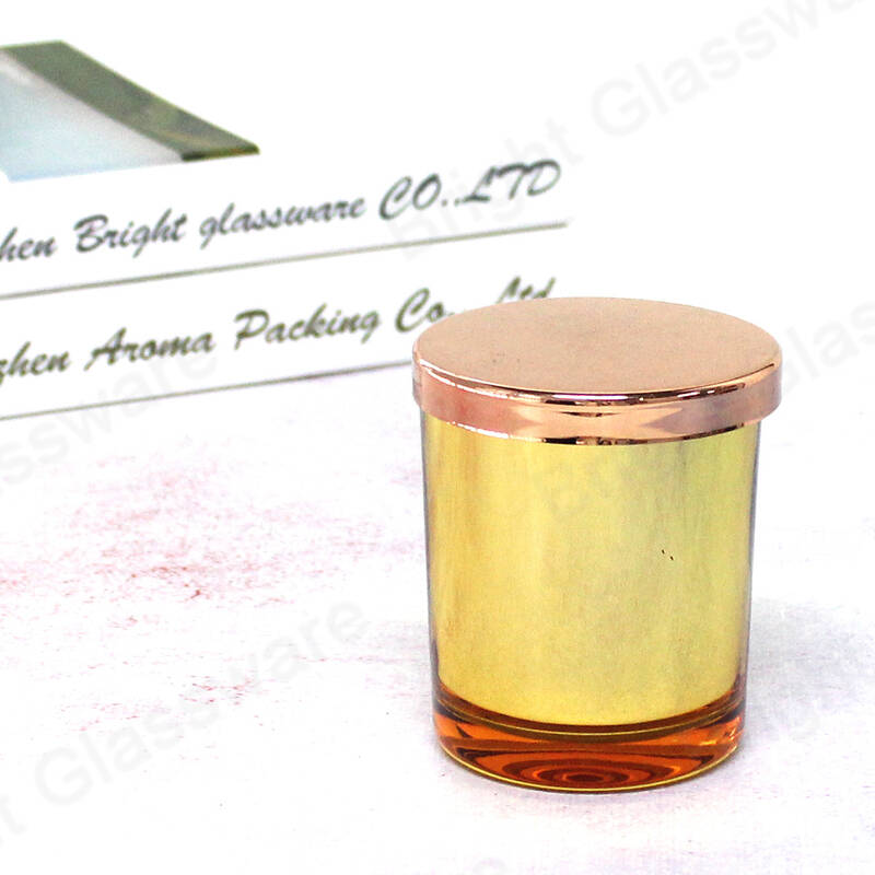 Custom round empty glass candle jar with rose gold lid wholesale