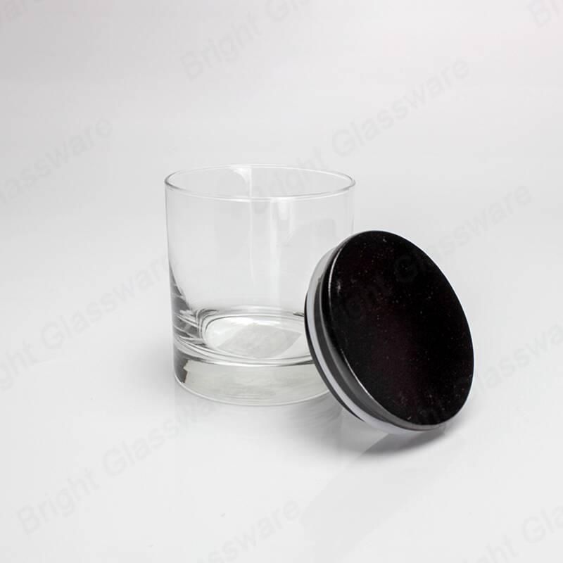 High quality candle holder glass jar with black wood lid sealed silicone ring wholesale