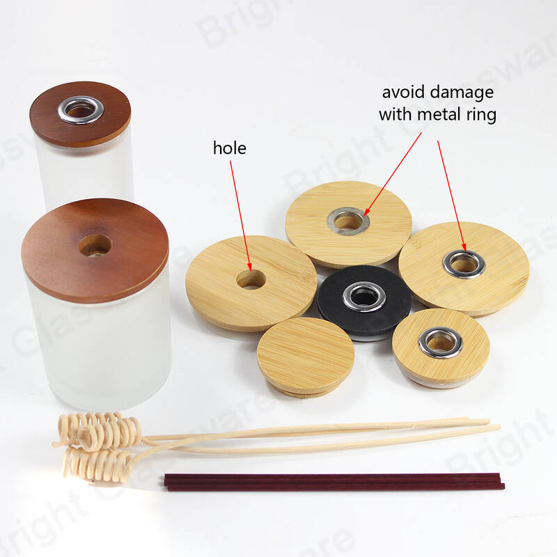 Custom natural wood cap essential oil reed wooden diffuser lid with ring and hole for home use