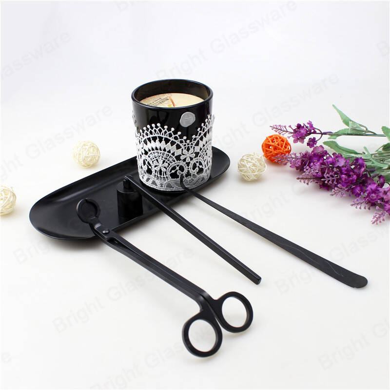 Luxury candle tool black candle care kit 4 piece set wick trimmer/dipper/snuffer/tray wholesale