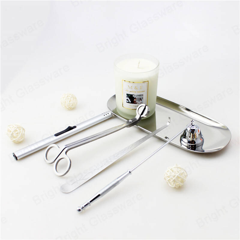 5 pcs home accessories silver wick trimmer stainless steel candle tool set gift tray dipper snuffer modern care Rustproof