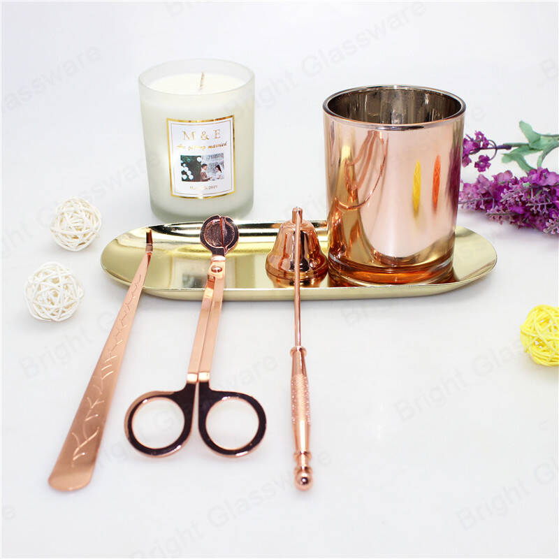 4 in 1 candle accessory set wholesale rose gold wick trimmer,dipper,bell snuffer,storage tray for wedding gift