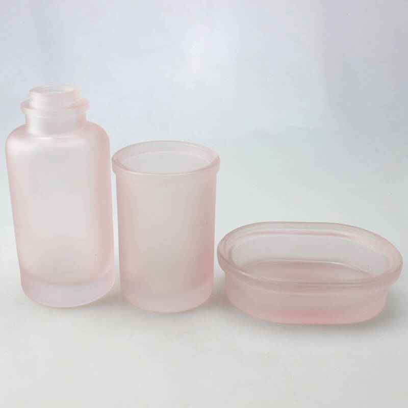 frosted pink bathroom accessories sets 4 pieces,bath salt glass jar , shampoo pump bottle, glass soap dish