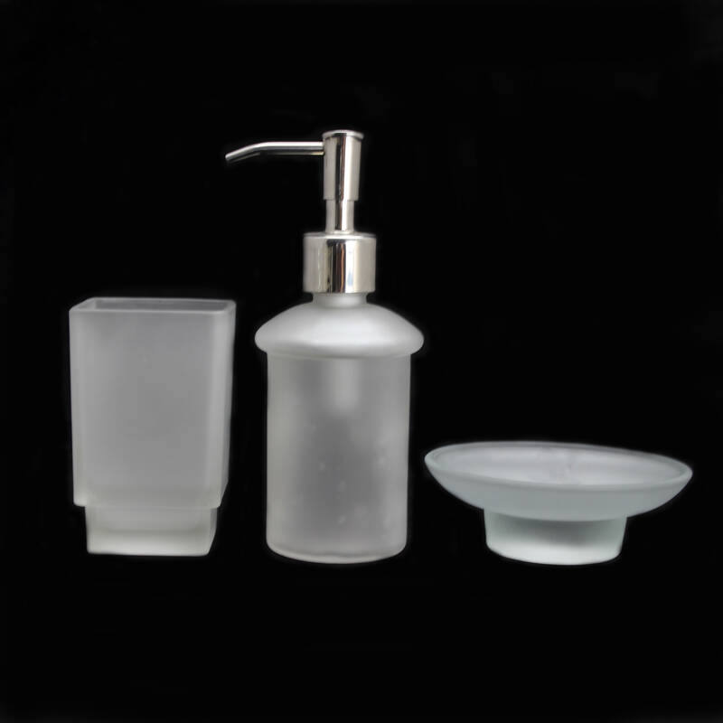 home hotel cheap bathroom accessories sets frosted glass soap dish holder