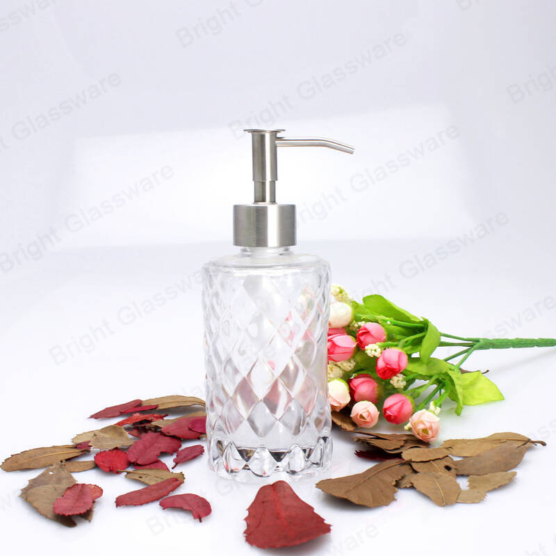 bathroom use empty glass hand sanitizer bottle square shaped with stainless steel lotion pump dispenser