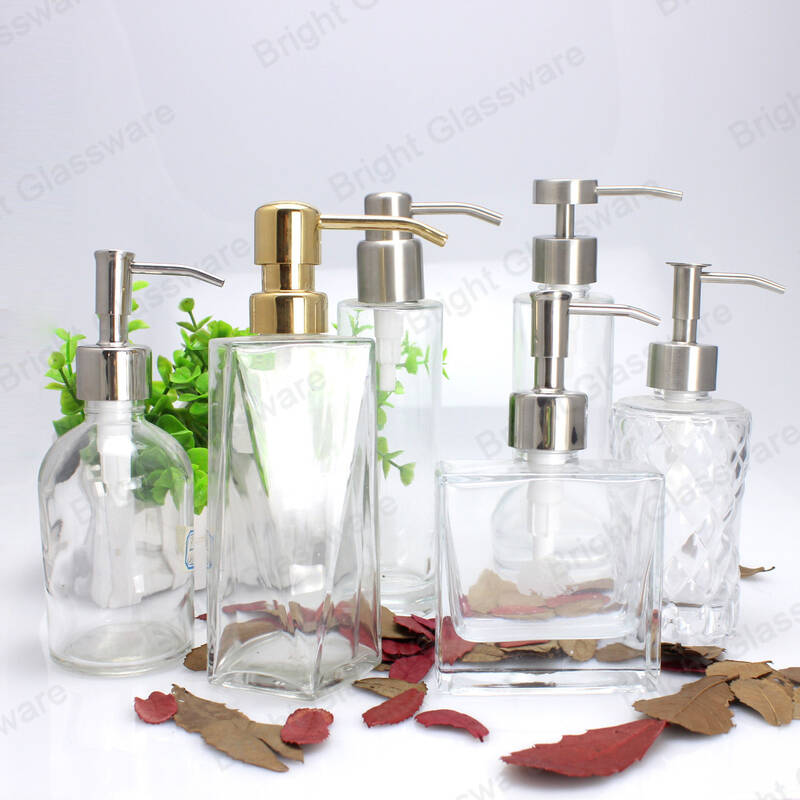 Luxury shower gel glass bottle flat shoulder glass hand wash bottle with dispenser pump