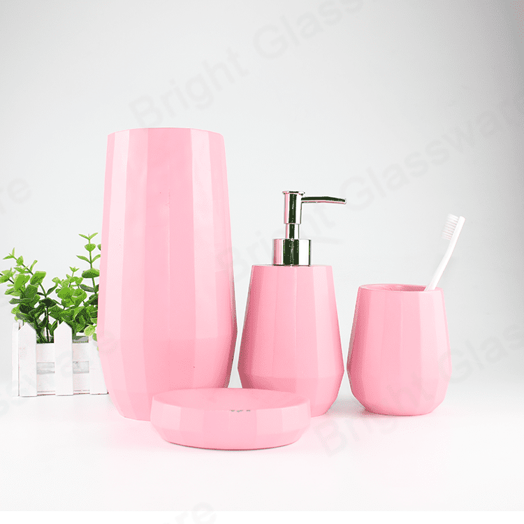 eco-friendly grey/pink concrete colorful bathroom accessories for home or hotel