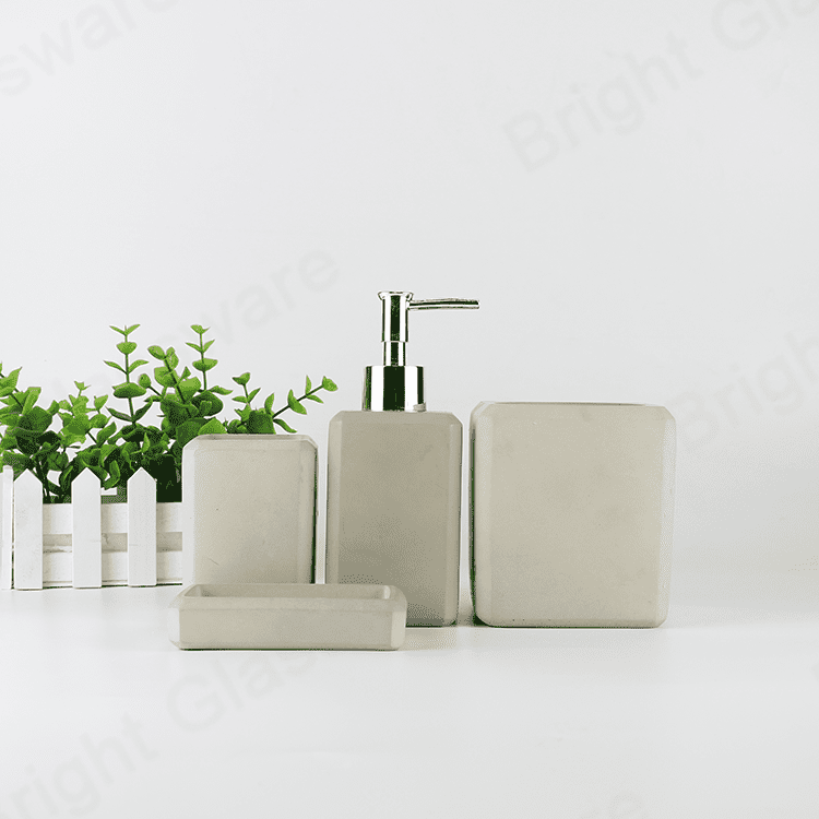 4-Piece bath Aaccessory set concrete toothbrush holder, tumbler, soap dish cement soap dispenser with pump for sale