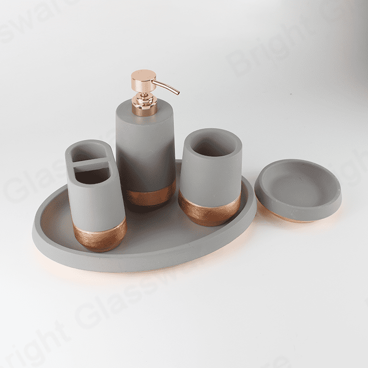 5 piece elegant luxury bathroom accessories sets gray & rose gold cement bathroom for home or hotel decorative