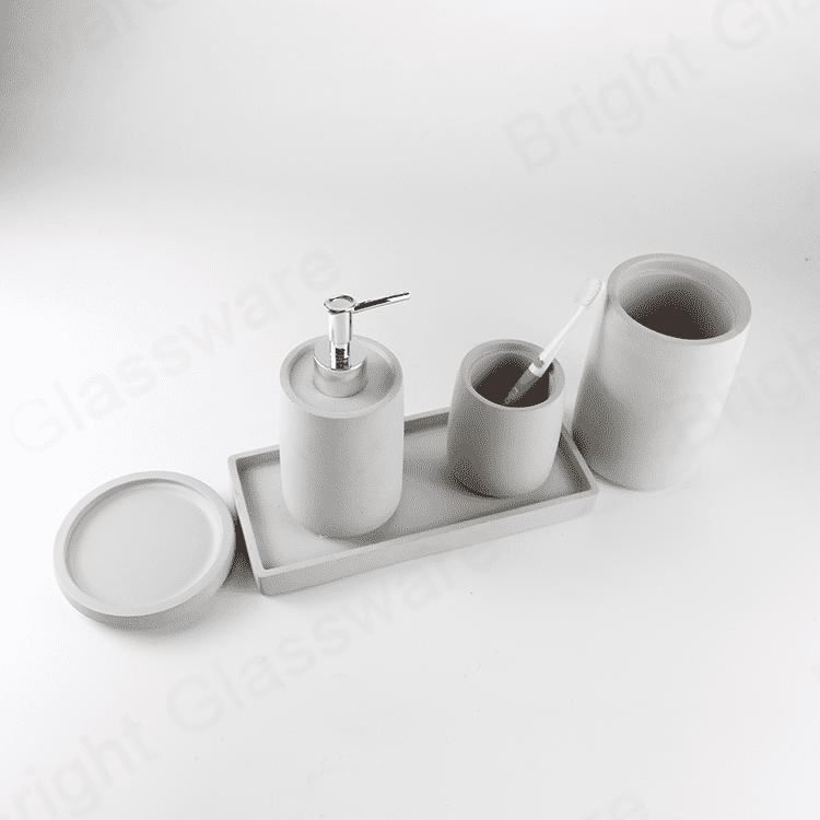 nature modern cement China bathroom accessories sets concrete soap dish and tray bath soap dispenser, tooth brush holder,toilet brush holder
