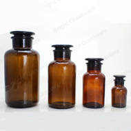 wholesale glass apothecary pharmacy bottle wide mouth amber color reagent bottles