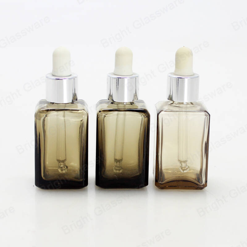 smoky gray cosmetic eye face glass dropper bottle square essential oil glass bottle
