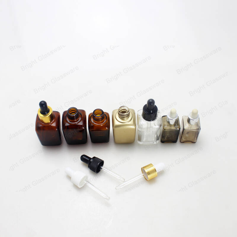 wholesale 30ml square shape essential oil amber cosmetic glass bottle with dropper