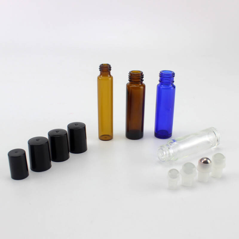 colorful glass essential oil roll-on bottles 10ml glass roller bottles with stainless steel roller balls wholesale