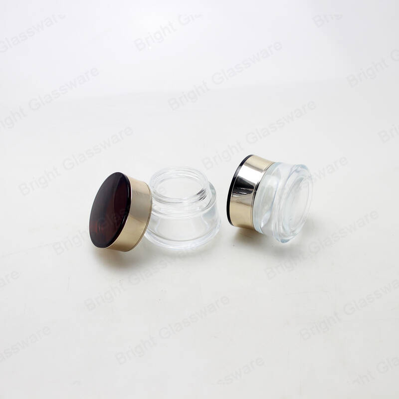 luxury empty clear glass cosmetic jars cream jars with screw cap for sale