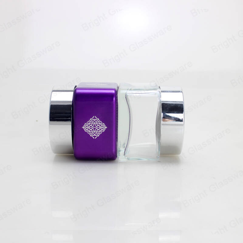 High quality 100ml glass cosmetic jar square cream jar with silver cap