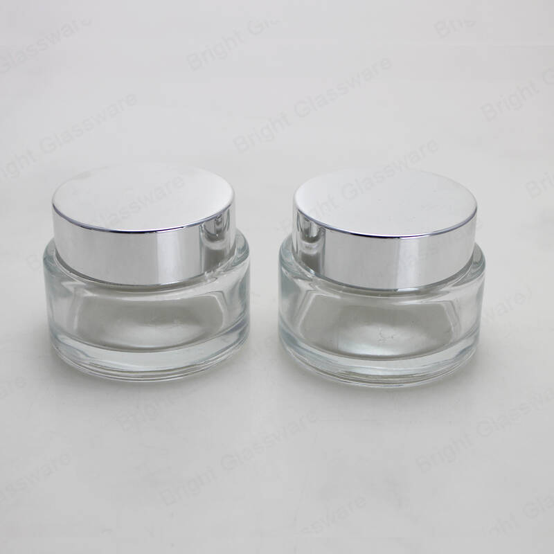Clear 120ml empty facial skin cosmetic containers glass jar for face cream