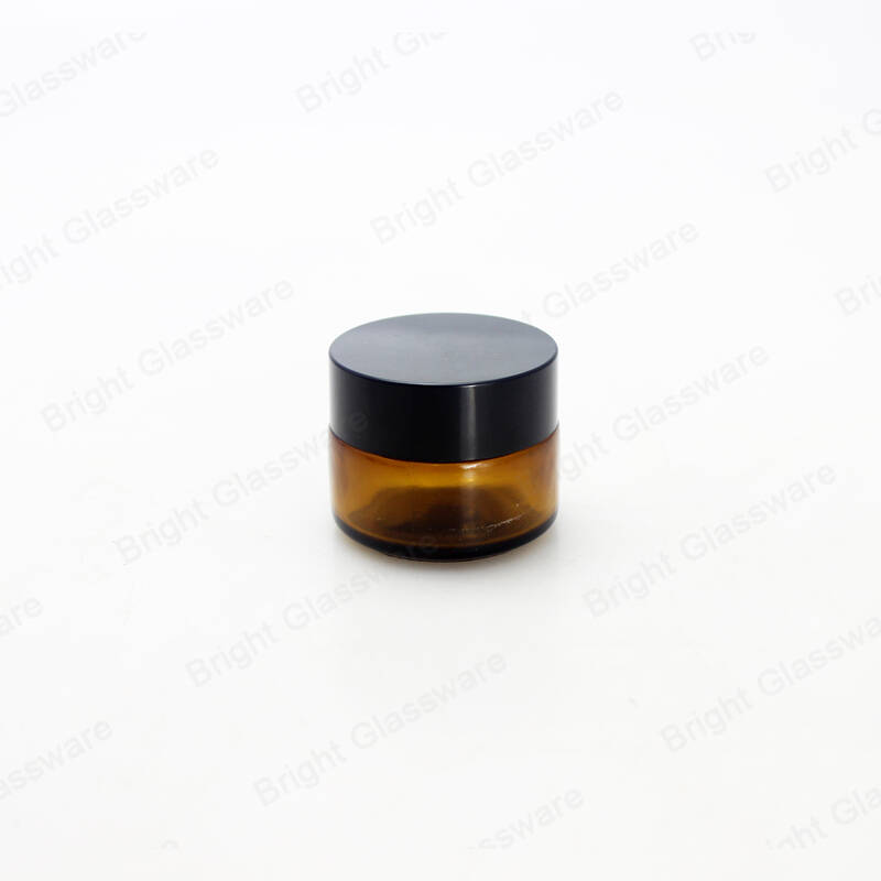 5ml 10ml 20ml 25ml 30ml 50ml 100ml empty glass cosmetic amber jars set cream jar with plastic lid wholesale