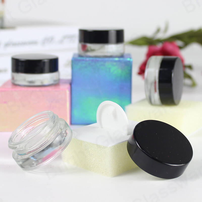 mini 5g eco-friendly packaging eye cream container clear glass cosmetic jars with black lid