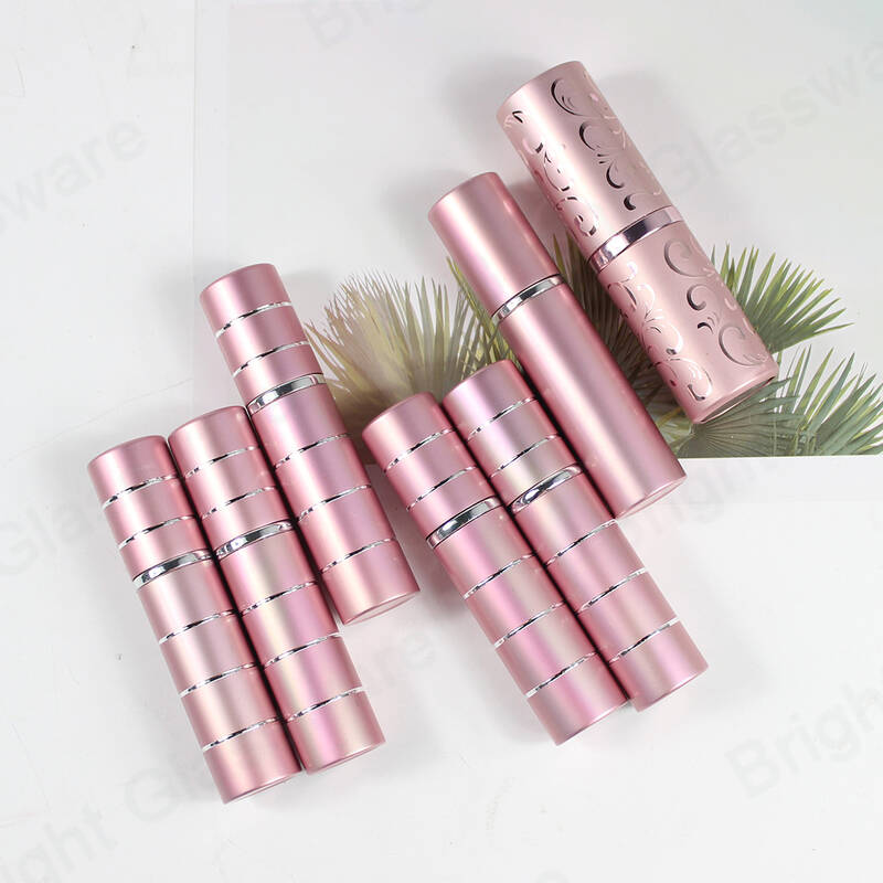 mini round 5ml 10ml pink twist up metal aluminium spray bottle empty refillable perfume atomizer bottle