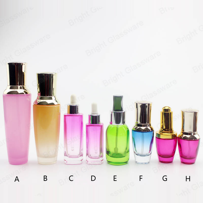 custom size and colorful skincare packaging glass lotion bottles with pump/dropper for essential oil