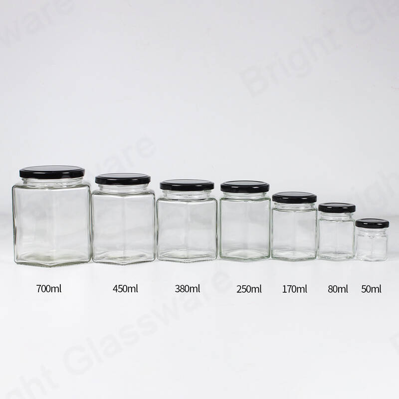 700ml 450ml 380ml 250ml 170ml 80ml 50ml hexagon shaped glass honey jar with black metal lid