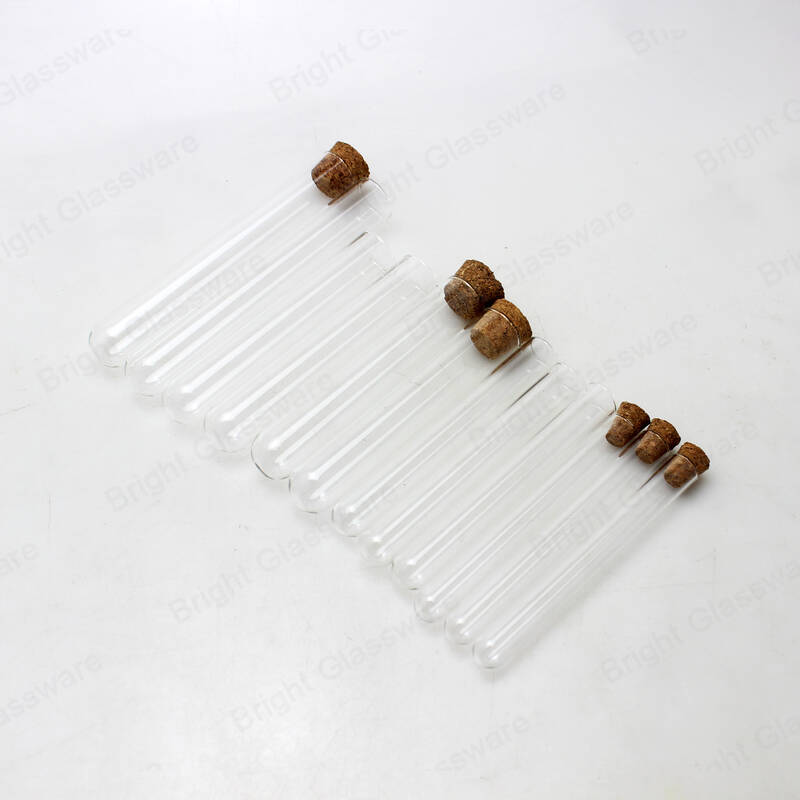 high temperature resistant Lab using round bottom glass test tubes with cork stoppers wholesale