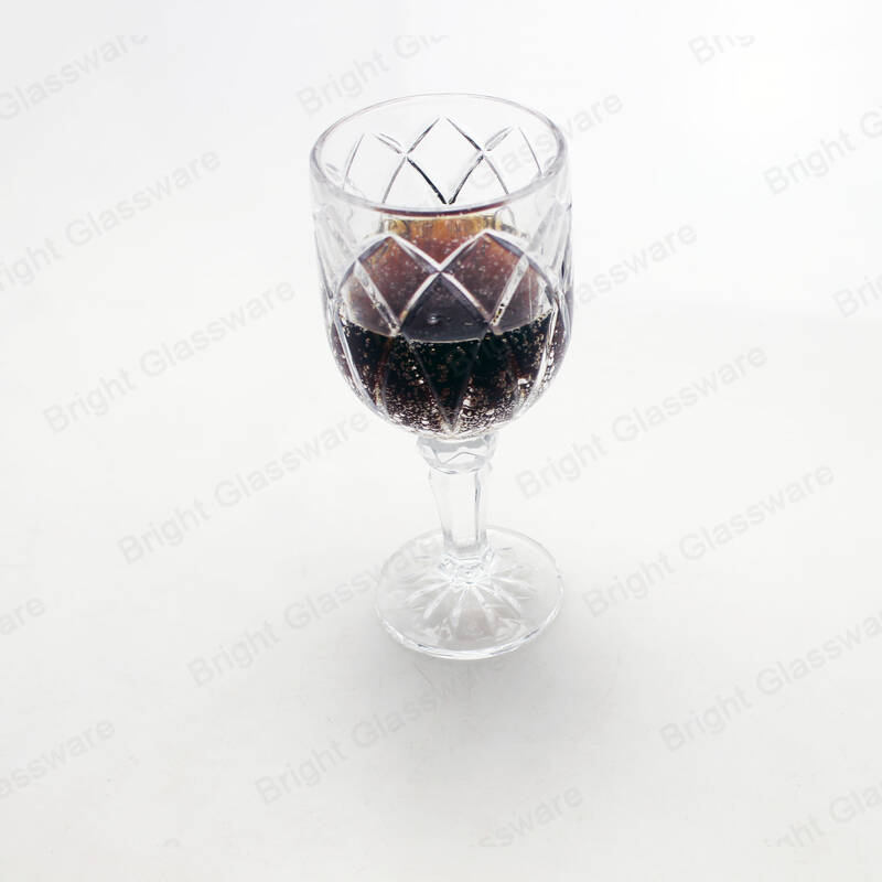 wholesale machine pressed novelty decorative vintage water and juice goblet embossed wine glasses