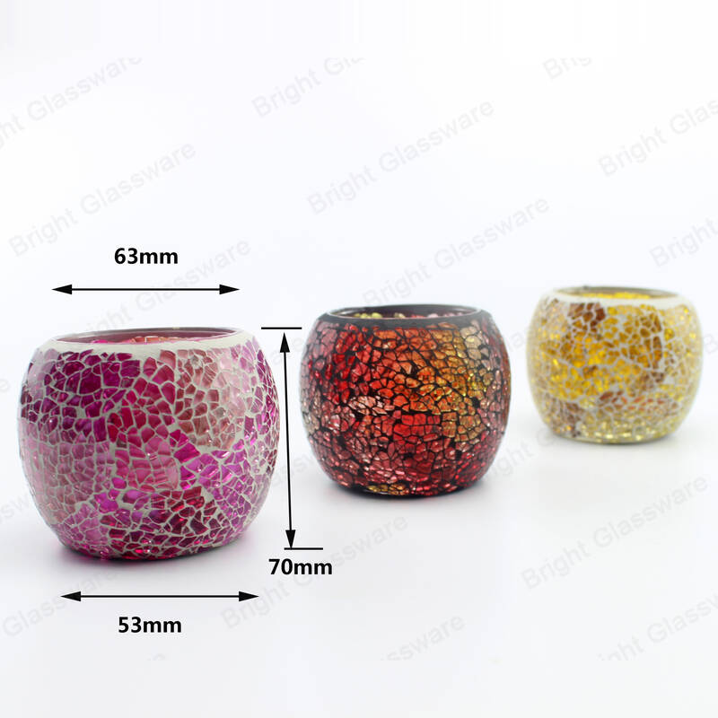 unique mixed color romantic European style glass candle holder ball shape mosaic candle jars wholesale for wedding and home