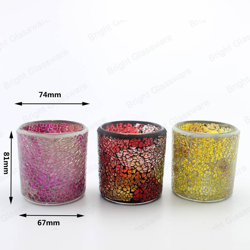 diy colorful handmade cylinder tealight votive mosaic glass candle holder for sale