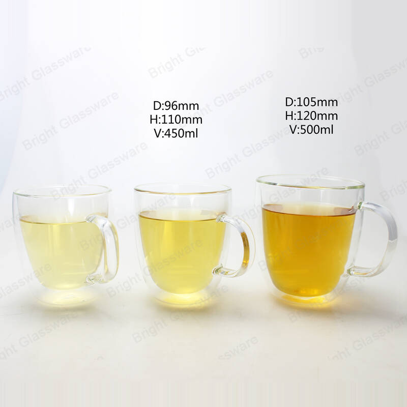 high quality 400ml 500ml double wall coffee cups glass mug for espresso
