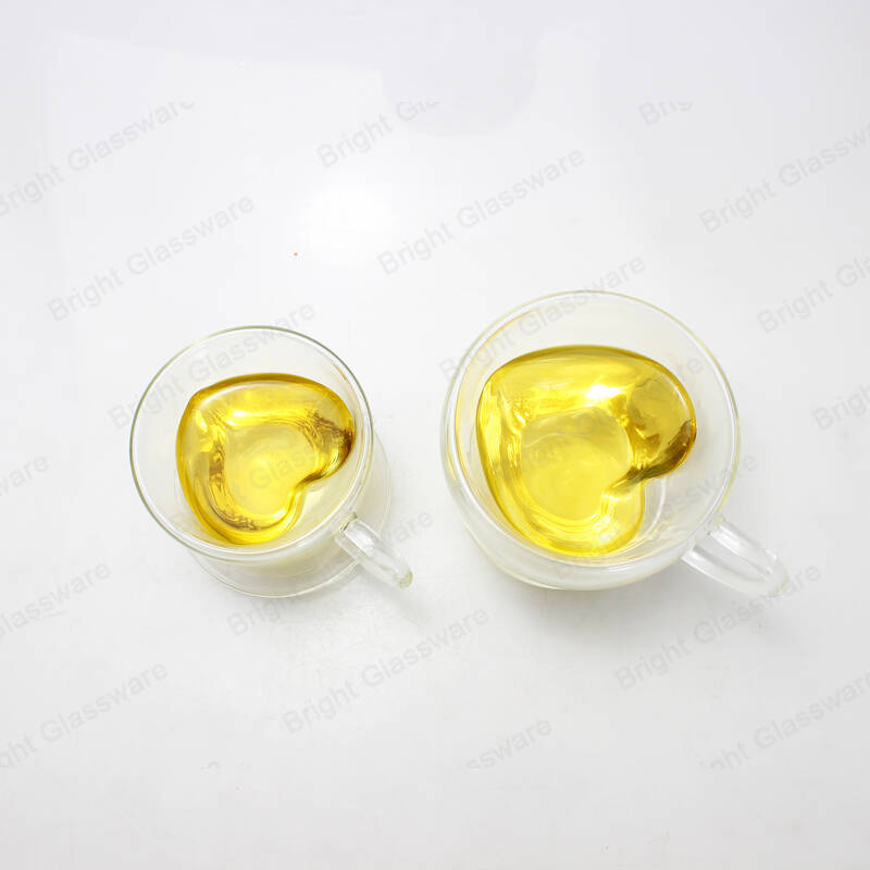 romantic double wall borosilicate glass tea/coffee cup heart shaped glass mug with saucer wholesale