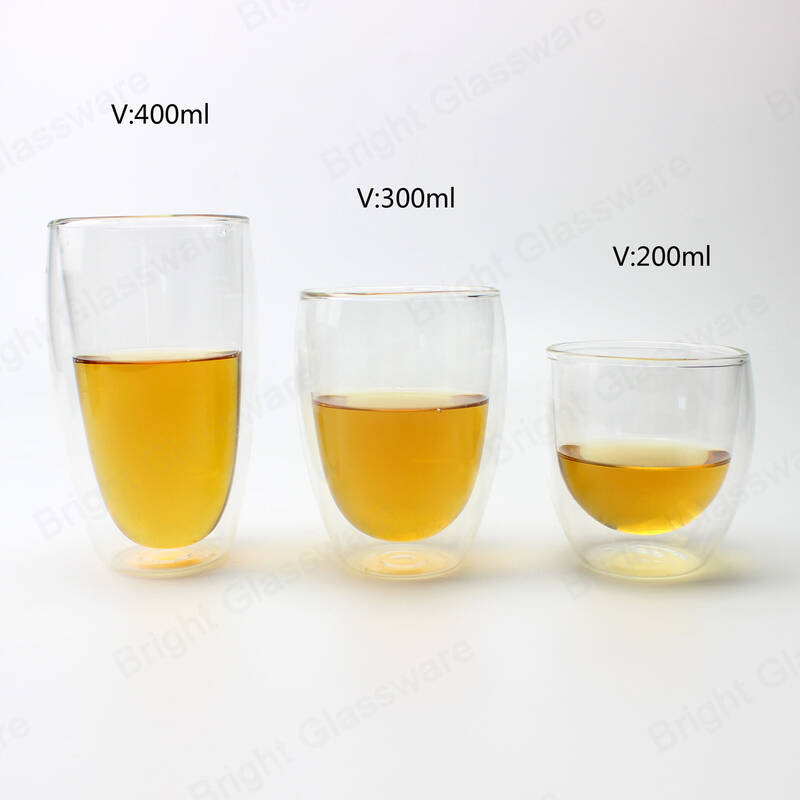 double wall coffee mug handleless borosilicate glass tea milk cup heat resistant glass mug