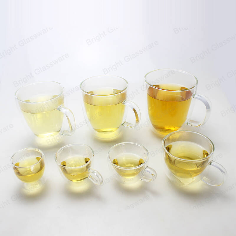 handblown crystal double wall glass hot beverages/tea/water mug high borosilicate glass coffee cup